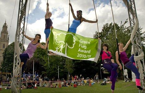 Members of Circomedia perform in St Pauls Park