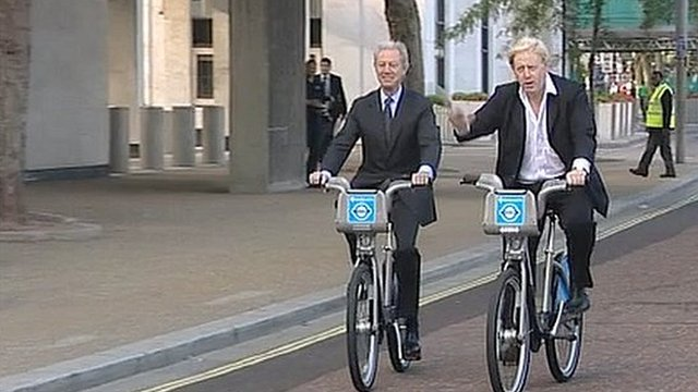 London Mayor Boris Johnson on a hire bike