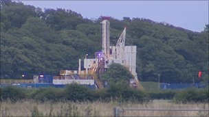 Cuadrilla Resources' shale gas rig near Kirkham in Lancashire
