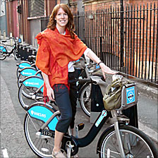 Cyclist Jane Mower on hire bike