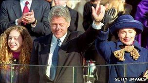 The Clinton family at the 1993 inauguration