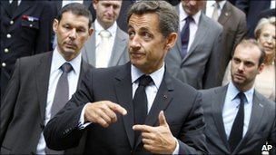 French President Nicolas Sarkozy in Grenoble on 30 July, 2010