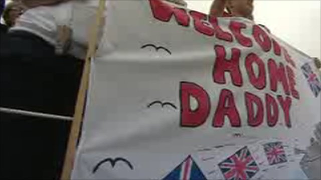 Welcome home sign for HMS Chatham