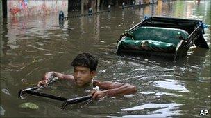 Flooded street in Calcutta