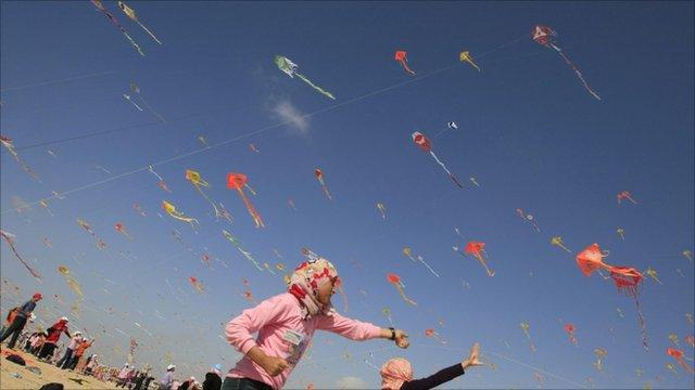 Children flying kites