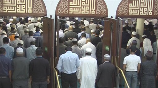 Muslims at an east London Mosque