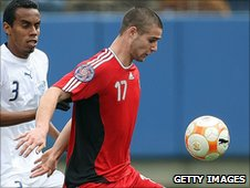 Marcus Huber in action for Canada U23s