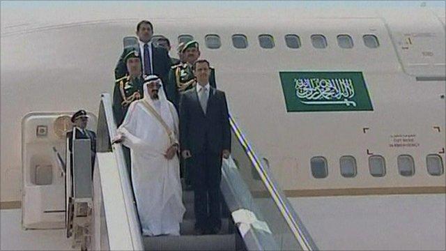 Syria's President Bashar Al Assad and Saudi Arabia's King Abdullah in Beirut