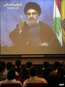Hassan Nasrallah addresses a news conference via videolink (22 July 2010)