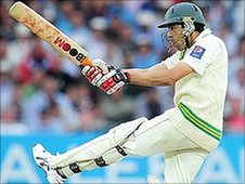 Umar Gul batting for Pakistan