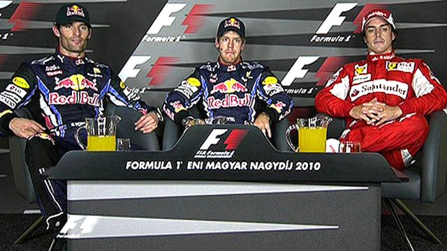 Mark Webber, Sebastian Vettel and Fernando Alonso