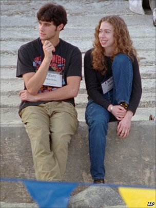 Marc Mezvinsky sitting with Chelsea Clinton in Hilton Head Island, South Carolina, December 1996