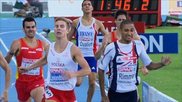 Michael Rimmer (far right) finishes second in the 800m at the European Athletics Championships