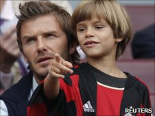 David Beckham and son Romeo watch AC Milan