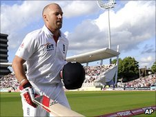Matt Prior leaves the field at the close of day three at Trent Bridge