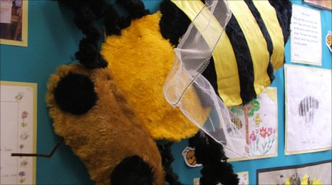 large model of a bee made by Ickworth Park primary school