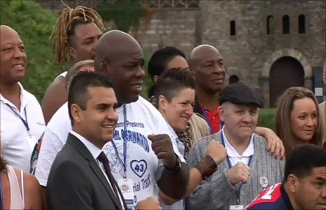 Champions including Iran Barkley, Earnie Shavers, James 'Bonecrusher' Smith and Shannon Briggs gather for the launch of the event at Cardiff Castle on Thursday