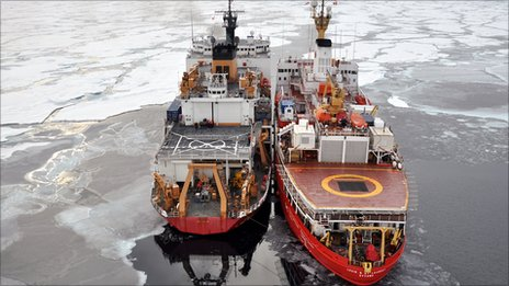 The Canadian Coast Guard Ship Louis St-Laurent (R) ties up to the Coast Guard Cutter Healy in the Arctic Ocean - 5 Sept 2009. Copyright US Geological Survey.