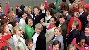 Blair with female Labour MPs in 1997