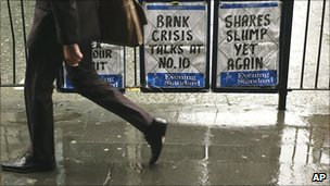 Newspaper billboard during the financial crisis