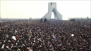 Crowds at a demonstration in Tehran, Iran, 1979