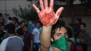 Protester in Tehran