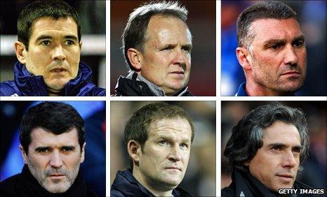 Nigel Clough, Sean O'Driscoll, Nigel Pearson, Roy Keane, Paul Grayson and Paolo Sousa