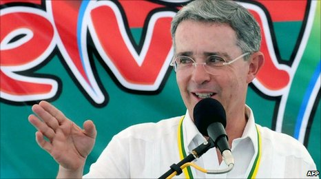 Alvaro Uribe speaking during a government programme ceremony to hand over 128 houses in Neiva, Huila department on 31 July 2010.