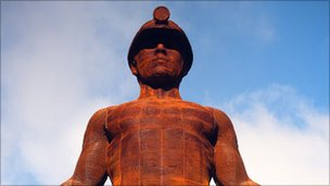Guardian statue commemorating Six Bells mining disaster
