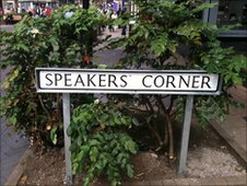 Speakers' Corner street sign in Lincoln