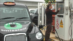 Filling up the hydrogen fuel cell powered taxi
