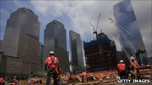 Construction work at the Ground Zero site