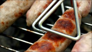 Sausages on a barbecue