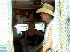 Ben and Coral Costiloe in their trailer