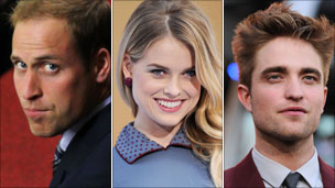 Prince William, and actors Alice Eve and Robert Pattinson