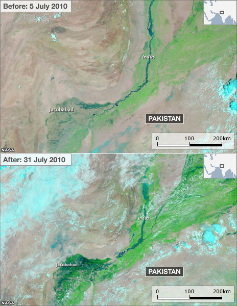 Satellite images of flooding in Pakistan