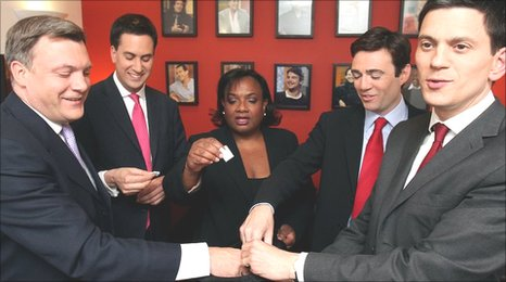 Left to right: Ed Balls, Ed Miliband, Diane Abbott, Andy Burnham, David Miliband