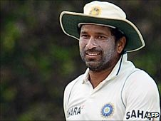 Sachin Tendulkar pictured while fielding on day one of the third Test in Colombo