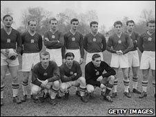 "Ferenc Puskas (front centre) and his ""Magnificent Magyars"""