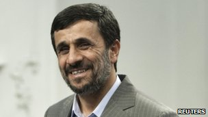 Iranian President Mahmoud Ahmadinejad arrives for an official meeting in Tehran on 15 July 2010