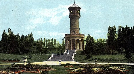 Archive photograph of Locke Park Tower in Barnsley in its heyday (1910)