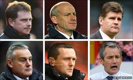 (From top l to bottom r) Barnsley boss Mark Robins, Bristol City boss Steve Coppell, Burnley boss Brian Laws, Cardiff boss Dave Jones, Coventry boss Aidy Boothroyd and Crystal Palace boss George Burley
