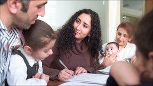 Family receiving legal aid