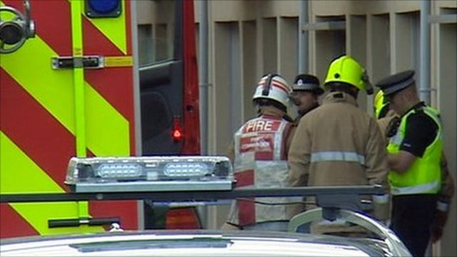 Gas blast scene, police and fire