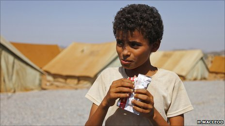 Boy in Mazrak IDP camp in north-west Yemen (Copyright: Hugh Macleod)