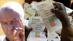 Dubat Ali Amey, 66, a community elder in Garissa (left); officials counting voting slips (right)