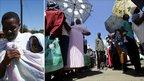 Mary Chepkirui at Elburgon in Moil constituency in Central Rift Valley (left), voters under umbrellas in Nakuru (right)