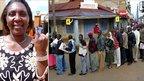 Rosemary Kuria in Eldoret (left); queue of voters in Eldoret (right)