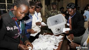 Electoral officials sorting ballots, Eldoret town, Kenya, August 4, 2010.