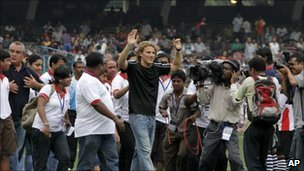 Diego Forlan at a Calcutta football match